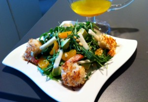 Coconut Encrusted Shrimp over Arugula Jicama Salad